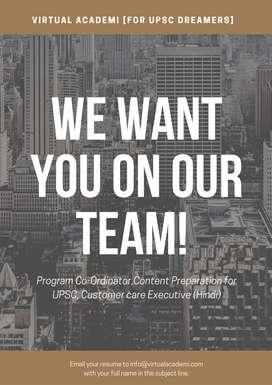 Wanted UPSC Trainer, Co-ordinator, call support (Hindi, Tamil,English)