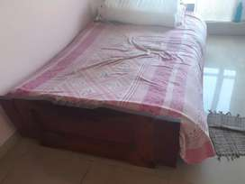 Segun woood 4.5×6.5 ft wooden bed with 1 mattress