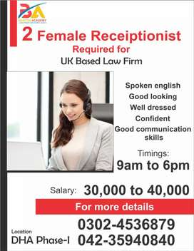 Female 2 receptionist required for uk based company