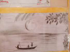 Moon light scenery pencil drawing