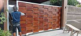 Pagar GRC motif kayu