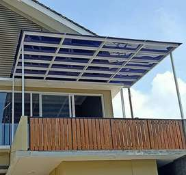 Kanopi minimalis rangka hollow atap solarflat 082