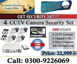 HIK Vision's 4 CCTV Camera Set Installation in Karachi (Complete Set)