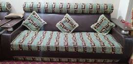 Wood and leather 5 seater sofa set
