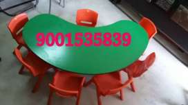 Neww. play school furniture half moon table with 6 chair
