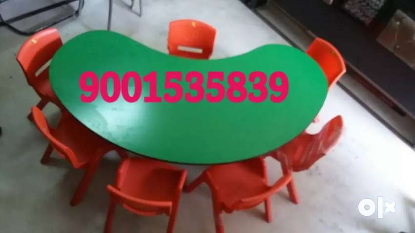 Neww play school furniture half moon table with 6 chair 0