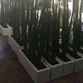 Pot Panjang Minimalia Bahan Semen - Putih