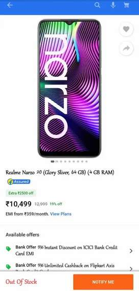Realme narzo 20 (4,64) glory silver colour