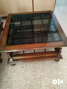 Teapoy Coffee Table. Glass top.