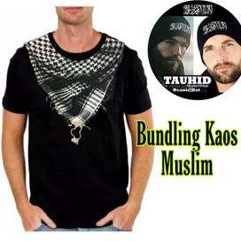 BUNDLING KAOS MUSLIM baju pria motif Sorban + topi KUPLUK TAUHID