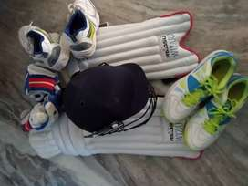 Cricket kit, pad, helmet, sega shoes, rajshu shoes, etc