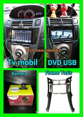 Head unit Yaris paket frame tape + tv mobil Doubledin + kamera mundur