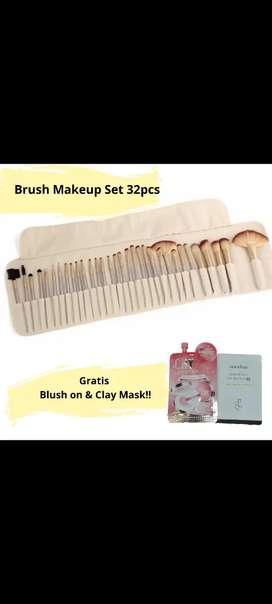 Makeup Brush set 32pcs lembut kuas makeup free blush on dan clay mask