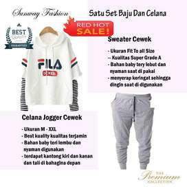AM00407 Celana Setelan Satu set Sweater cewek dan celana joger