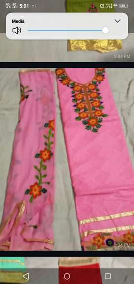 Cotton dress material with embroidery work