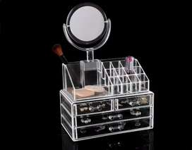 Acrylic 4 Drawer Cosmetic Organizer With Mirror