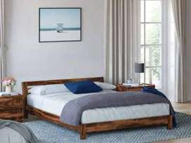 Perfect Homes Sheesham Wood King Size Low Line Bed In Teak Finish