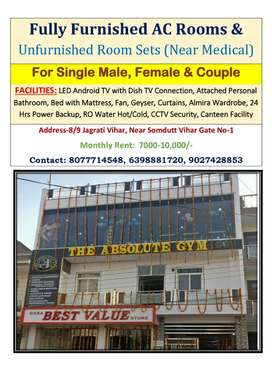 Fully furnished AC/NonAC Room for Single Male, Female & Couple
