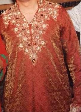 silk embroidered kurta pyjama