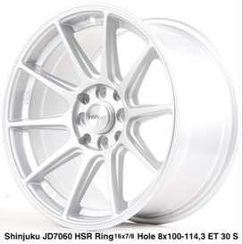 free ongkir SHINJUKU JD7060 HSR R16X7/8 H8X100-114,3 ET35/30 SILVER