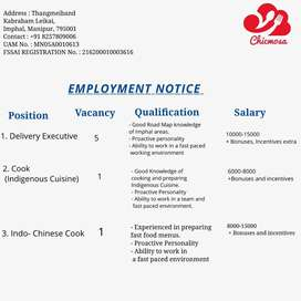Indo- Chinese Cuisine and Indigenous Cuisine Cook/Chef Wanted