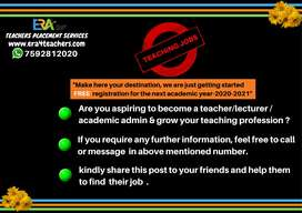 Wanted teachers for all subjects