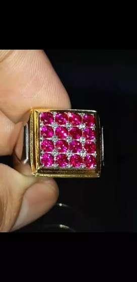 Ring Stempel Batu Permata Merah Siam 16pcs Clean 99% luster Top