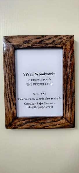 Custom made pure wood photo frames and wall shelves