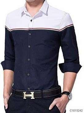 Cotton color block slim fit shirt