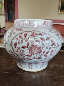 Keramik china dinasty priuk merah dalam glazir part 932 antik