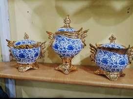 Guci toples keramik hias import biru emas