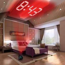 XNCH Jam Alarm Light Projection LCD Display Digital Clock Voice Prompt