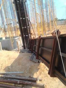 Pekerjaan pemasangan struktur bekisting bangunan dengan bahan, dll