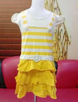 Dress anak Katun  Usia 6-8 tahun kuning kaos stretch murah