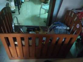 pure wooden baby cot with mattress