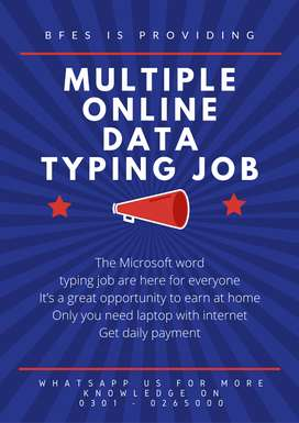 Multiple online data typing job for students who are in need of it