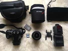 NIKON DSLR 3000 Camera, 2 lenses, camera bag, and external flash