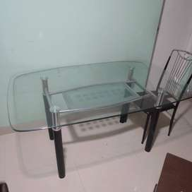 Crystal clear Glass top Dinning table with Four Chair