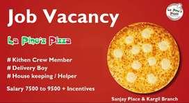 Job Vacancy in Cafe Pizza at Sanjay Place & Kargil