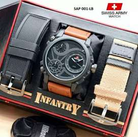 Jam tangan Swiss Army free double strap, box eksklusif, harga promo