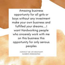 Business opportunity for only serious peoples who sincerely work