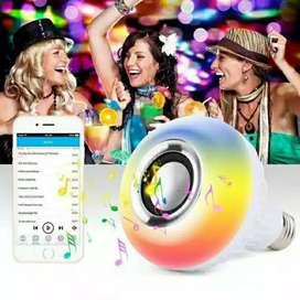 Speaker bluetooth wireless lampu music LED RGB bohlam speaker