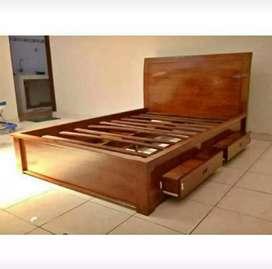 Tempat tidur minimalis jati AJF65