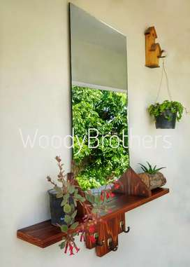 Wall Hanging Shelf with Mirror