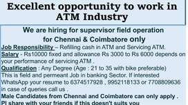 Wanted ATM field Officer for banking Sector