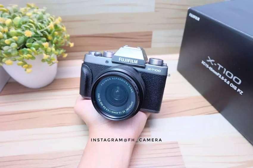 Fujifilm XT100 kit grey fullset mulus garansi resmi 0