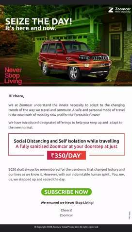 Rent a personal Car starting from 350/Day