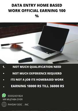 Data entry home based work authentic 100%