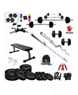 Flat Bench with 30 KG Weight Plates 4 RODS Home Gym Set & Fitness kit