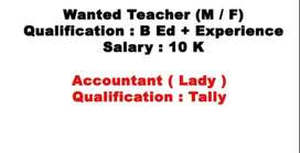 Wanted Teacher and Accountant